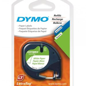 Dymo 10697 White Paper Tape 12mm x 4m - 2 Pack