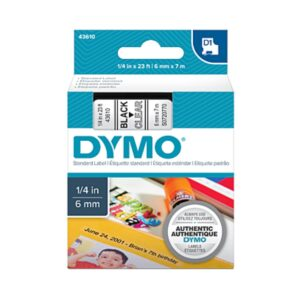 Dymo S0720770 6mm Black on Clear Tape