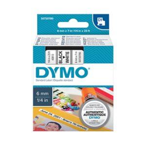 Dymo S0720780 6mm Black on White Tape