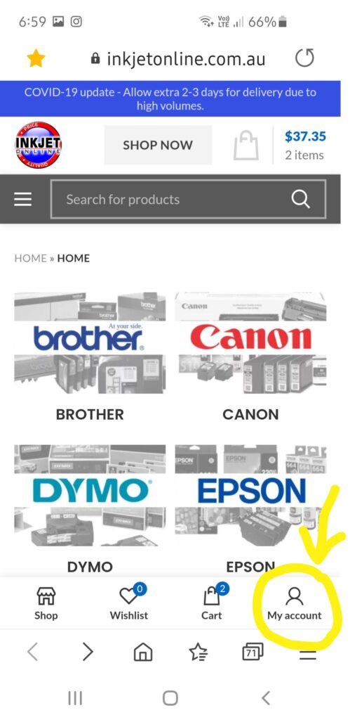 Inkjet Online Mobile View Creating An Account