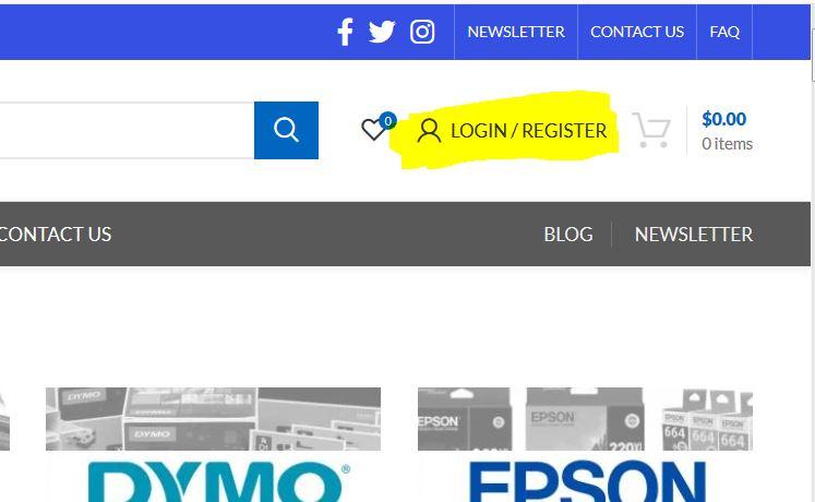 Log In Register at Inkjet Online