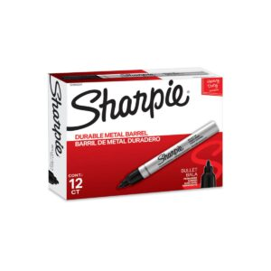 Sharpie Metal Permanent Marker Bullet Tip Black Bx12