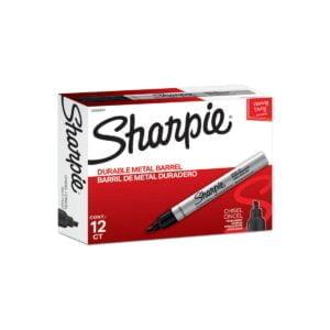Sharpie Metal Permanent Marker Chisel Tip Black Bx12