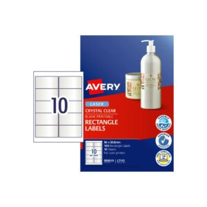 Avery 10up Laser Clear Rectangle Label L7113 96x50.8mm Pk10