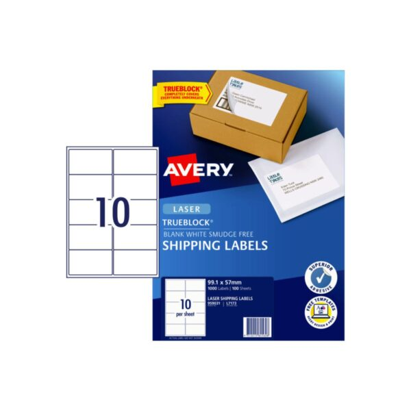 Avery 10up Laser Shipping Label L7173 99.1x57mm Pk100