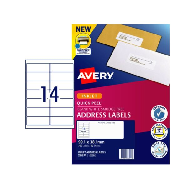 Avery 14UP Shipping Label J8163 Pk50 99.1 x 38.1mm