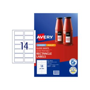 Avery 14up Gloss Rectangle Labels L7123 80x35mm Pk10