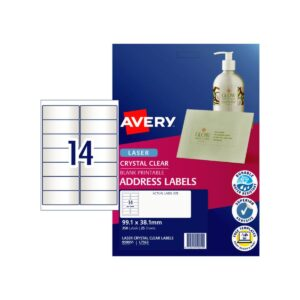 Avery 14up Laser Address Label Clear L7563 99.1x38.1mm Pk25
