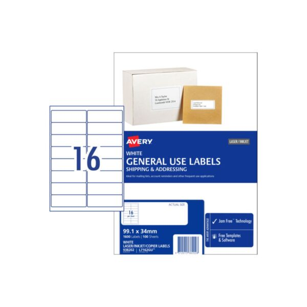 Avery 16UP General Use Label L7162GU 99.1x34 Bx100