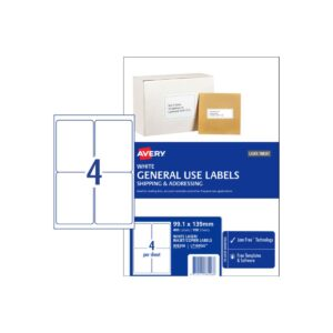 Avery 4UP General Use Label L7169GU 99.1x139 Bx100