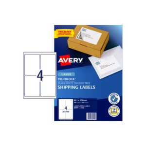 Avery 4up Laser Shipping Label L7169 99.1x139mm Pk100