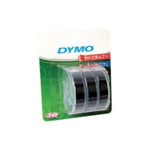 Dymo Embossing Tape 9mm x 3m Black Pk3