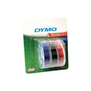 Dymo Embossing Tape 9mm x 3m Blue Green Red Pk3