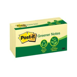 Post-It Note 654-RP Recycle Yellow 76x76mm Pk12